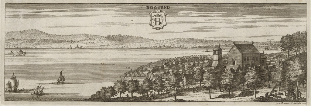 "1600-talets Bogesund. Ur Erik Dahlbergs ""Suecia Antiqua et Hodierna"". Foto: Jens Östman/Kungliga"
