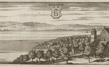 Bild på svartvit tavla över 1600-talets Bogesund.