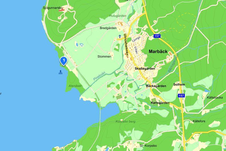 Alenäsbadet marbäck, karta från eniro.se