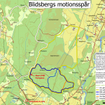 En karta över motionsspår i Blidsberg.