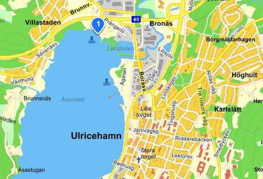 Bild på karta över Prångens badplats.