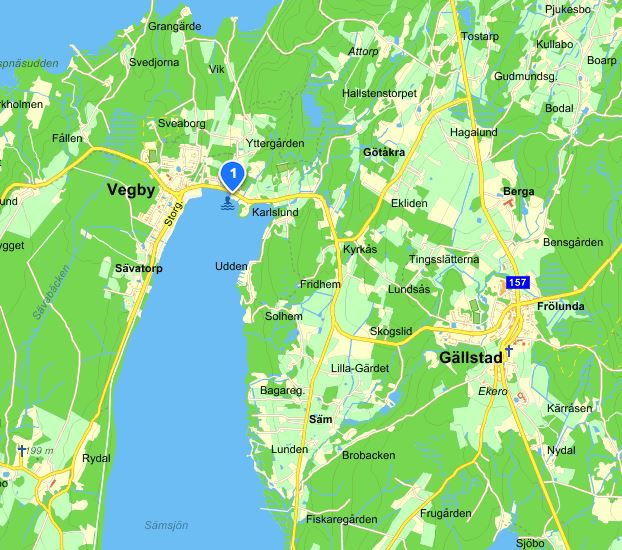 Sämsjön i Vegby, karta från eniro.se
