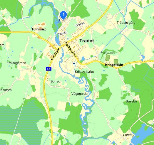 Trädets badplats, karta från eniro.se