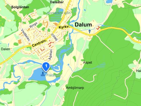 Bild på karta över Flatabadet och Dalum.