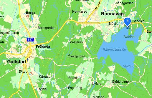 Bild på karta över Rånnavägssjön, Rånnaväg och Gällstad.