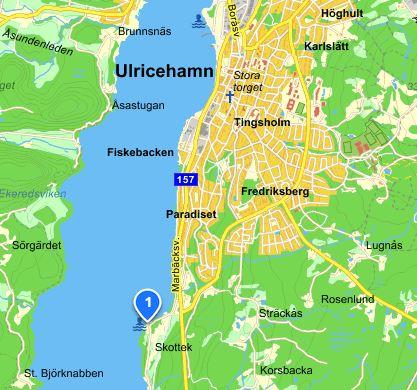 Bild på karta över Åsunden, ulricehamn och Skotteksbadet.