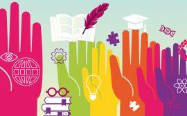 Illustration som visar händer utbildning teknik kultur priser stipendier
