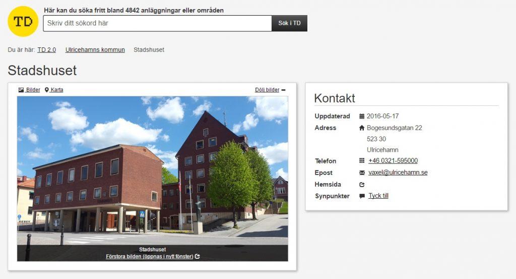 Bild på hur det ser ut i Tillgänglighetsdatabasen när man visar tillgänglighet för stadshuset.