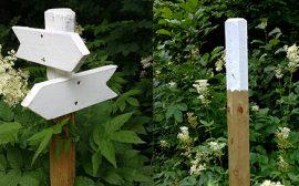 Vita skyltar och stolpar - ny märkning av Rönnåsenleden