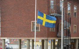 Bild på flaggan vid stadshuset