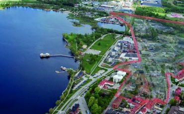Planprogrammet för Bronäs, marknadsplatsen och entré Ulricehamn utmarkerat med röd linje.