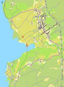 Karta över Marbäck med broarna som ska renoveras och annan färdväg markerad.