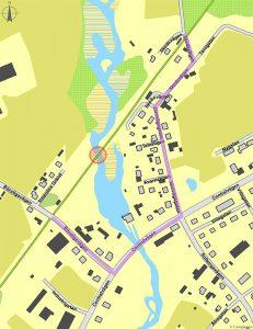 Karta över Trädet med bron som ska renoveras och annan färdväg markerad.