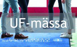 Elevers ben, tingsholmsgymnasiets logotyp och text där det står UF-mässa