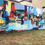 """Muralmålning """"Double-sided"""" av Marie Dahlstrand 2018"""