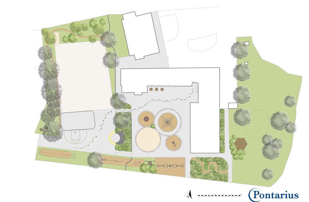 Skiss över Hössnaskolans nya skolgård