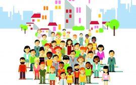 Illustration med människor och hus