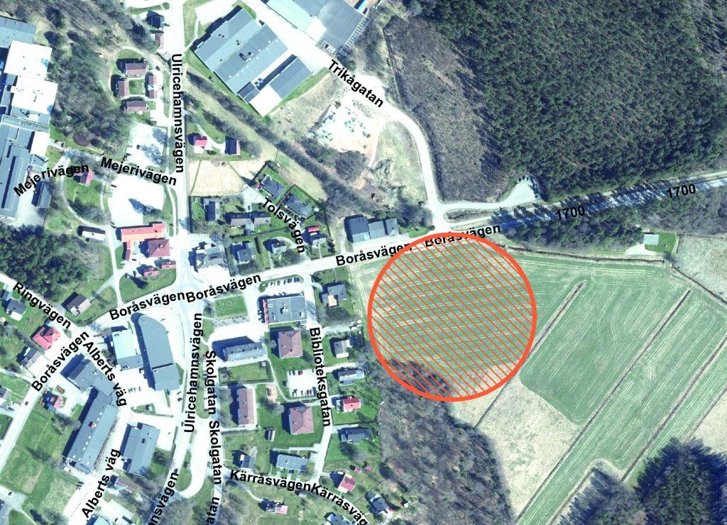 Planskiss över placering av samverkanshus i Gällstad