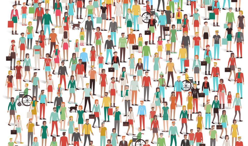 Tecknad bild på många människor
