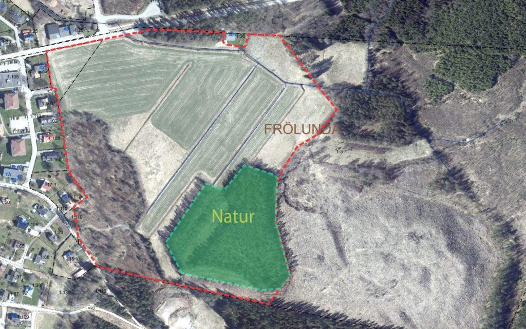 Flygfoto över detaljpplan Gällastad 1:132. Aktuellt område är markerat med grönt