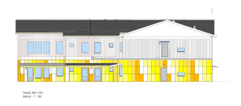 Skiss av sydfasaden på Hökerums förskola, en byggnad i två våningar med svart tak.
