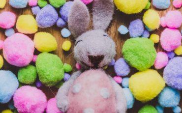 en tovad kanin bland små färgade bollar.