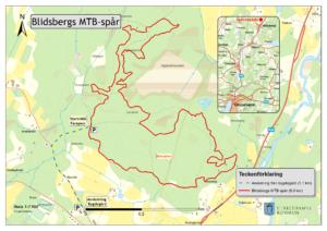 Karta med mtb-spåret i Blidsberg utmarkerat.