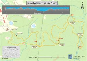 Bild på karta där trailspåret är utmärkt.