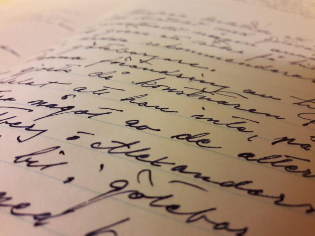 Bild på en handskriven text