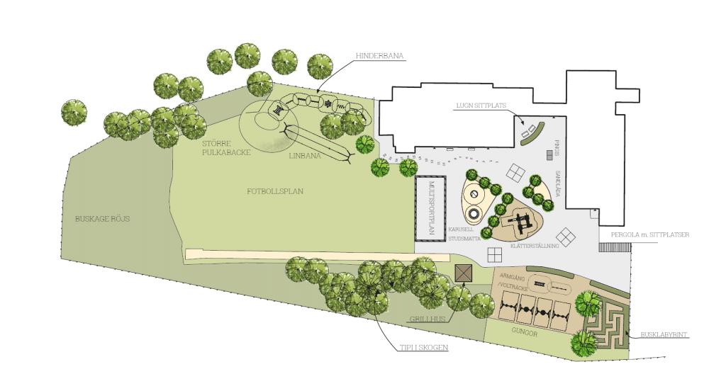 Skiss över en skolgård med fotbollsplan, pulkabacke, lekytor.