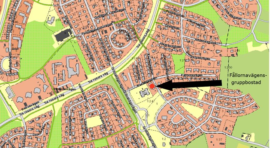 Karta över placering av Fållornavägens gruppbostad.