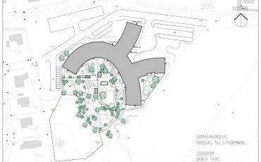 Bild på skiss över samverkanshuset i Gällstad. en rund byggnad med mycket grönska.