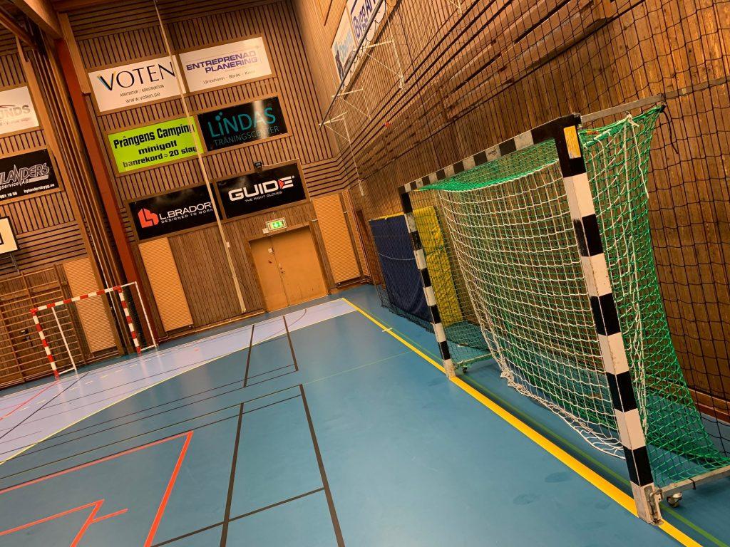 Bild på handbollsmål och delar av en idrottshall som har träväggar och blått golv.