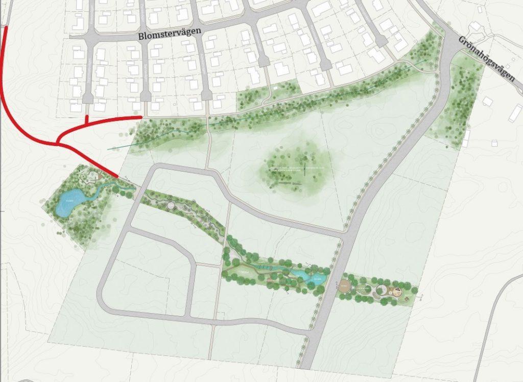 Illustration som visar området bergsäter med den nya gång och cykelvägen utmarkerad i rött