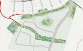 Illsutratopm som visar området bergsäter med den nya gång och cykelvägen utmarkerad i rött