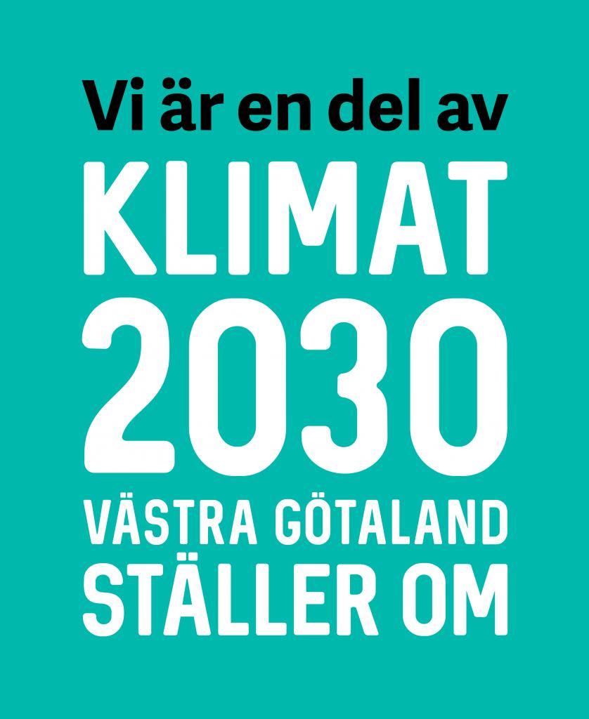 En bild med texten Vi är en del av Klimat 2030 Västra Götaland ställer om