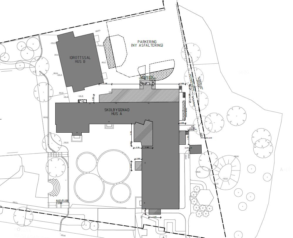 Arkitektskiss över Hössna skola