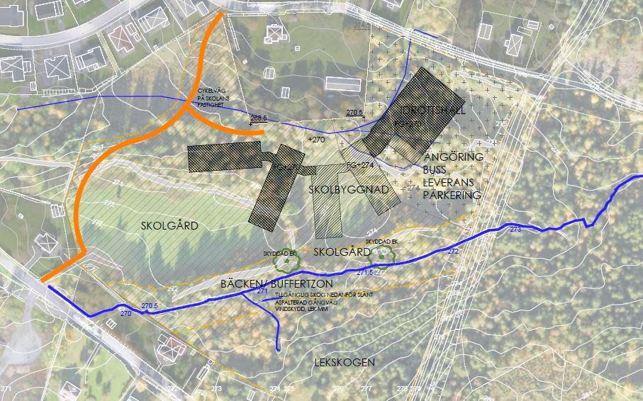 Arkitektskiss över den planerade skolan i Sanatorieskogen.