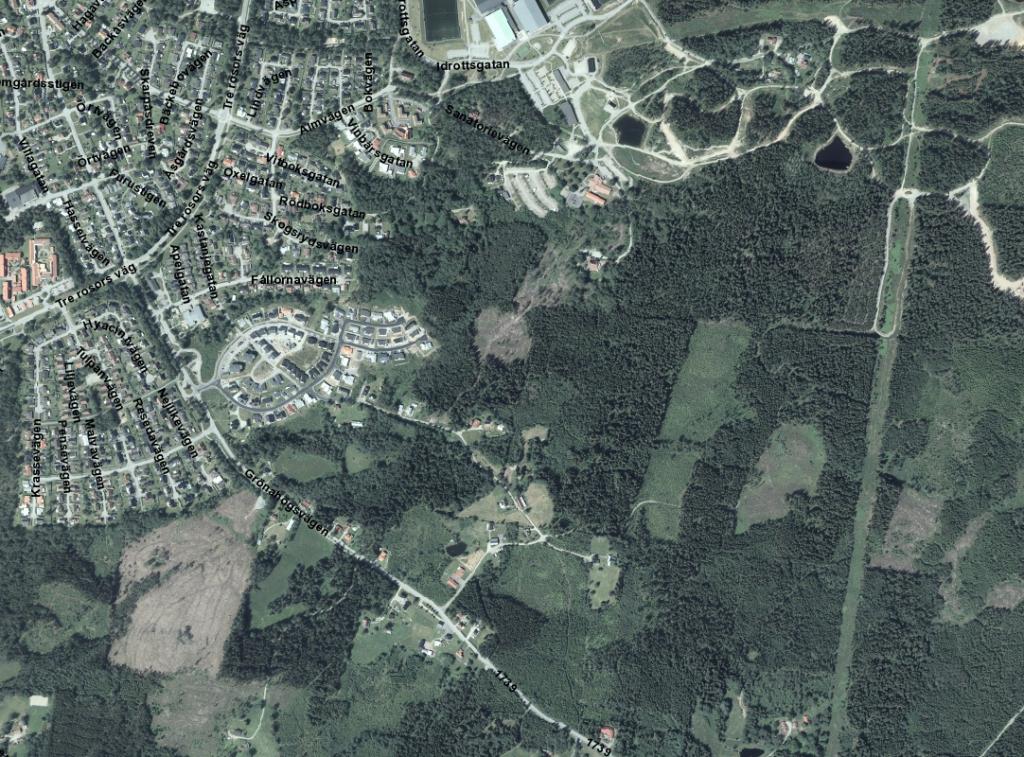 Flygbild över området Sanatorieskogen