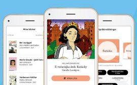 Bild som visar appen Bläddra vy från tre telefoner