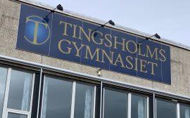 Tingsholmsgymnasiet väggskylt