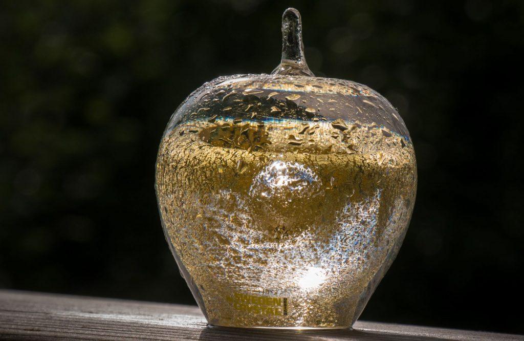 En genomskinlig glasskulptur i fomr av ett äpple