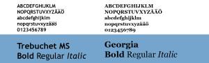 Vi använder typsnitten Trebuchet och Georgia